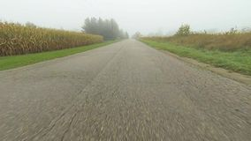 A point of view drive down a quiet road on a foggy day stock video footage
