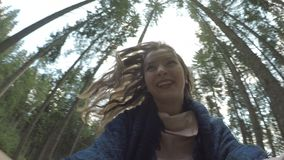 Point of view of excited teen woman running away and screaming playing in mountain forest  -. Point of view of excited teen woman running away and screaming stock video