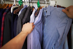 Point Of View Image Of Man Choosing Clothes From Wardrobe Stock Images