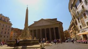 Cycling in Pantheon Square in Rome FDV slow motion, pov stock footage
