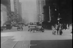 Point of view of New York City streets from car, 1930s stock video footage