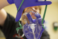 Point of view oxygen mask and doctor Stock Image