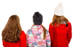 Point of view. Photo of three young girl on isolated white background Royalty Free Stock Image