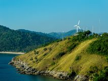 Promdhep Renewable energy station. A point of view at Phuket Island, you can see wind mill which is own by The Electricity Generating Authority of Thailand, the Royalty Free Stock Image