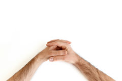 Point of view praying. Point of view of hands praying Stock Image