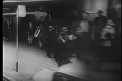 Point of view shot of man running down San Francisco street stock footage