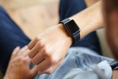 Point Of View Shot Of Man Wearing Smart Watch Royalty Free Stock Image