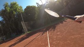 Point of view of tennis player in slow motion stock video footage