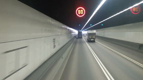 Point Of View Traffic In The Tunnel. Time Lapse stock video footage