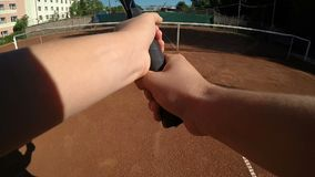POV of two women compete in tennis match. Point of view of two women compete in tennis match stock footage