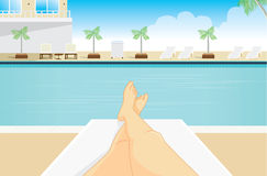 Point view of woman to sunbathing Stock Images
