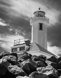 Point Wilson Lighthouse. In Washington state. Rendered in Black and White Royalty Free Stock Photography