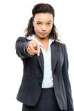 Pointage attrayant de femme d'affaires d'Afro-américain d'isolement sur W image libre de droits