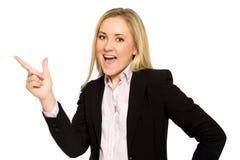 Pointage de femme d'affaires Photos stock
