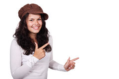 Pointage de jeune femme Images libres de droits