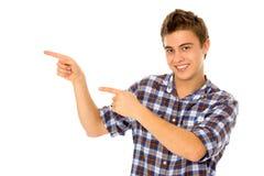 Pointage de jeune homme Photos libres de droits