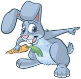 Pointage effrayé de lapin de bande dessinée illustration de vecteur