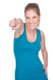 Pointage heureux de femme Photographie stock