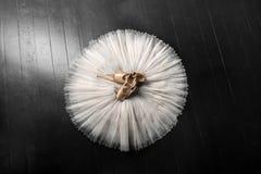 Pointe鞋子和芭蕾芭蕾舞短裙 专业芭蕾舞女演员成套装备 免版税库存图片