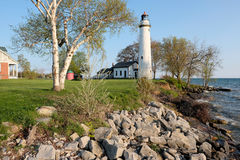 Pointe aux Barques Lighthouse, built in 1848. Lake Huron, Michigan, USA Royalty Free Stock Images