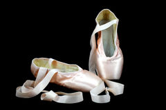 Pointe Ballerina Shoes On Black Stock Image