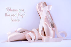 Pointe Ballet Shoes with quote text Royalty Free Stock Photo
