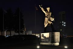 Pointe a carcy. Illuminated monument to the seamen memory at nig. Pointe a Carcy in Quebc. Monument  to the memory of the Canadian merchant seamen from the Stock Photography
