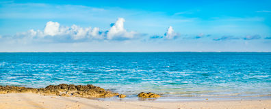 Pointe D `-Esny strand, Mauritius panorama Royaltyfri Fotografi
