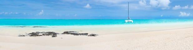 Pointe D `-Esny strand, Mauritius panorama Royaltyfria Foton