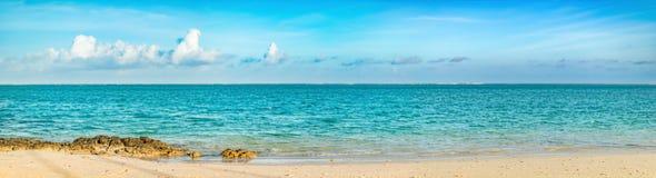 Pointe D `-Esny strand, Mauritius panorama Royaltyfri Bild