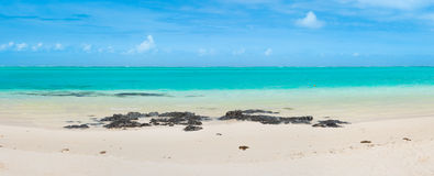 Pointe D `-Esny strand, Mauritius panorama Arkivfoton