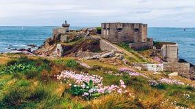 Pointe de Kermorvan, Kermovan Lighthouse, Brittany (Bretagne), F. Rance royalty free stock images