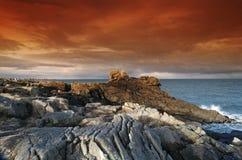 Pointe de la torche in Brittany  coast. Pointe de la torche rocks in  audierne bay Royalty Free Stock Photography