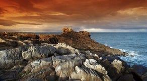 Pointe de la torche in Brittany  coast. Pointe de la torche rocks in  audierne bay Royalty Free Stock Photos