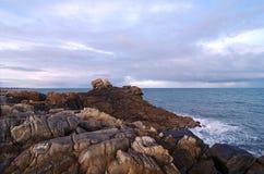 Pointe de la torche  rocks in Brittany  coast. Pointe de la torche rocks in  audierne bay Royalty Free Stock Image