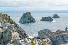 Pointe de Pen-Hir in Brittany. Rocky coastal scenery around Pointe de Pen-Hir in Brittany, France Royalty Free Stock Images