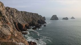Pointe de Pen-Hir. Located on the Brittany coast in north west of France stock video footage