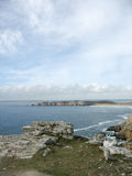 Pointe de Penhir和du Toulinguet在布里坦尼 库存照片