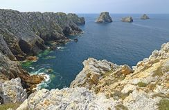Pointe de Penhir, Atlantic Ocean, France. Pointe de Penhir, Atlantic Ocean, Les Tas de Pois called the pea heaps, Crozon peninsula, Finistere, Brittany, France Royalty Free Stock Photos