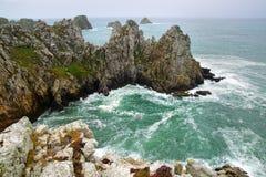 Pointe de Pluma-Hir. Península de Crozon, Bretaña Foto de archivo libre de regalías