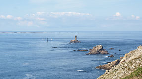 Pointe De Raz. View over Pointe De Raz with Ile De Sein in distance stock photo