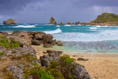 Pointe DES-Chateaux in Guadeloupe stockbilder