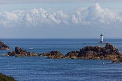 Pointe du Groin e faro del Pierre-de-Herpin Immagini Stock