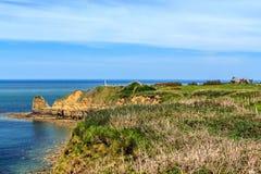 Pointe du hoc Campo di battaglia in WW2 durante l'invasione della Normandia, Francia Immagini Stock Libere da Diritti