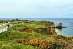 Pointe du hoc Champ de bataille dans WW2 pendant l'invasion de la Normandie, France Photo stock