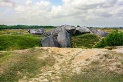 Pointe du Hoc Fördärva, Normandie, Frankrike Arkivbild