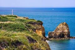 Pointe du Hoc, Normandie, Frankreich Stockbild