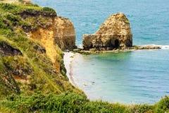 Pointe du Hoc, Normandie, Frankrike Arkivbild