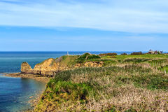 Pointe du hoc Pole bitwy w WW2 podczas inwazi Normandy, Francja Obrazy Royalty Free