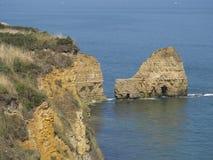 Pointe du Hoc slagfält, Frankrike Arkivfoto